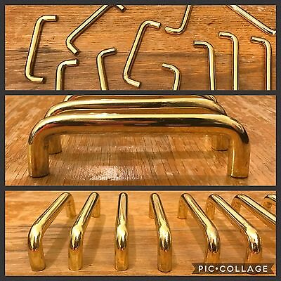 11 Handles Pulls Solid Heavy Bright Brass Gold Knob Cupboard Cabinet Drawer Arch