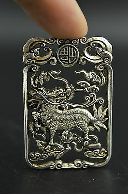 4.5 CM China Handwork Carving Miao Silver Cyprinoid Fish Amulet Pendant Necklace