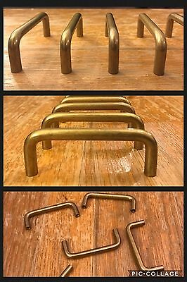 8 Handles Pulls Antique Brass Tone Cabinet Drawer Arch Mid Century Heavy Vintage