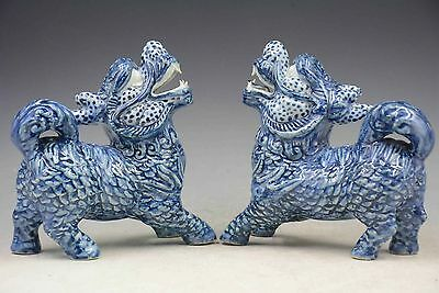 A Pir Chinese Folk Blue And White Porcelain Fu Foo Dog Lion Statue