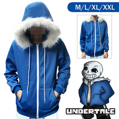 Undertale Sans Cosplay Costume Blue Hoodie Hooded Winter Coat Jacket Sweater