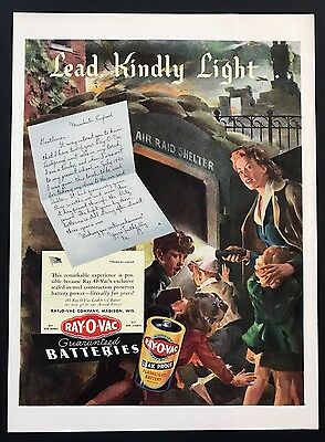 Ray-O-Vac Batteries | 1943 Vintage Ad | 1940s Illustration Color