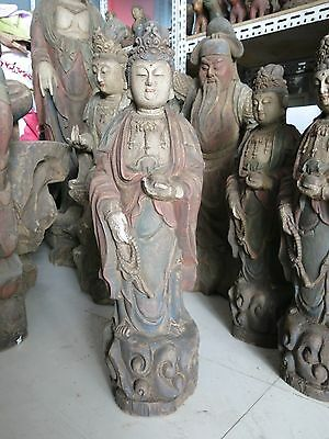 """29"""" China old wood carved budhism Guanyin sculpture Kwan-yin buddhs statue"""