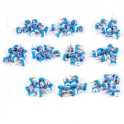 100Pack10 Values Potentiometer Trimpot Variable Resistor Assortment with Box