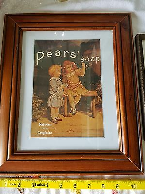 "Vintage Wood Framed Pears Soap Print.  Measures 10"" H X 13""w.   Ready To Hang."