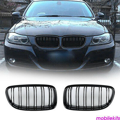 Gloss BLACK FRONT KIDNEY DOUBLE RIMS GRILLE Fit BMW E90 E91 LCI 3SERIES 2008-11