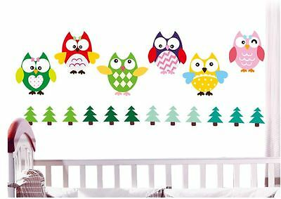 8 Cute Owl Brothers Wall Sticker
