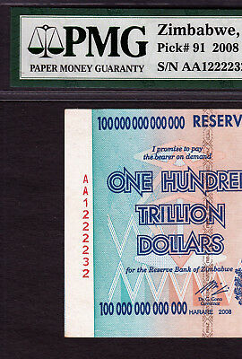 Zimbabwe 100 Trillion with Massive Serial Shifted ERROR 2008 Pick-91 CH UNC