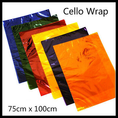 New Quality Coloured Cellophane Sheets Gift Wrap 75x100cm Assorted Colours Cello