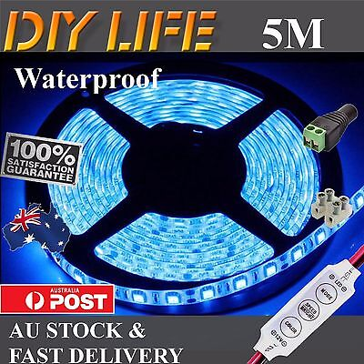 12V Blue 5M 5050 SMD 300 LED Strips Led Strip Lights Waterproof car Boat Dimmer