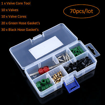 71pcs Air Conditioning Repair Tool Kit A/C Valve Core Dual Style Hose Gaskets OB