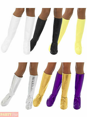 Ladies Hippy Gogo Boot Covers Platform Adult 60s 70s Fancy Dress Womens