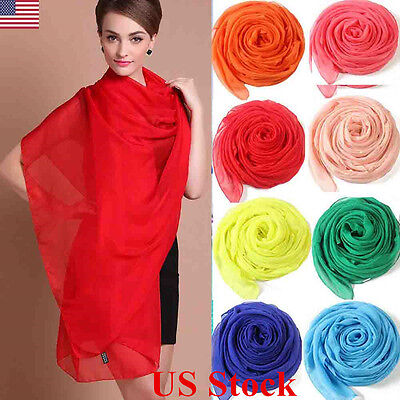 US New Plain Silk Hijab Scarf Fashion Large Maxi Headscarf Womens ladies Scar