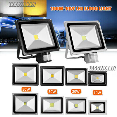 LED Floodlight PIR Motion Sensor 10/20/30/50/100W Security Warm Cool Flood Light