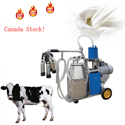 25L Electric Milking Machine Farm Cow Bucket Vacuum Piston Pump 110/220V From CA