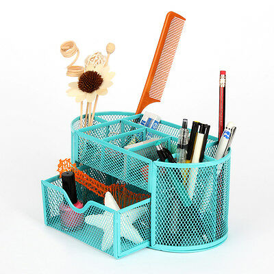 Desk Organizer 9 Compartments Metal Drawer Mesh Desktop Office Pen Pencil Holder