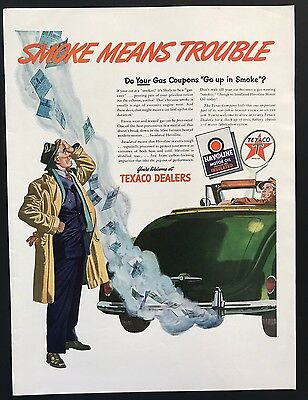 Texaco Dealers | 1943 Vintage Ad | 1940s Illustration Color Gas Oil Car