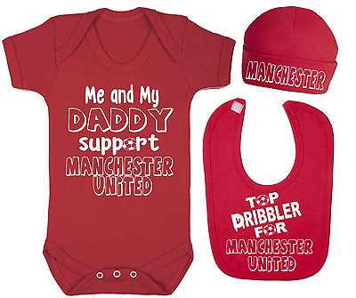 Support Manchester United Top Dribbler Baby Vest Hat and Bib Set Football sets