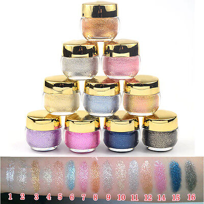 16 Farbe Beauty Make-Up Gel Glitter Glitzer Lidschatten Creme Schminke Eyeshadow