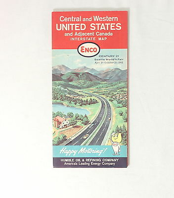 Vintage 1962 Enco Interstate Map Oil Humble Company Central Western Usa Canada