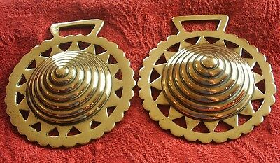 Antique Horse Brass - Two Beehive Pattern Brasses - Cast & Stamped Examples