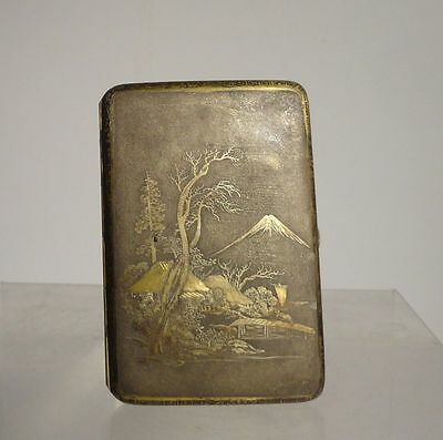 Antique Japanese Brass Bronze Cigarette Case Komai Komei Style Box Signed Mixed