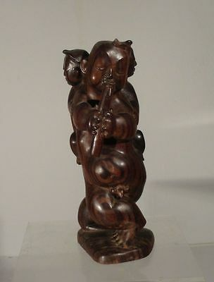 Antique Asian Chinese Carved Ebony Hardwood Figure Sculpture Midcentury