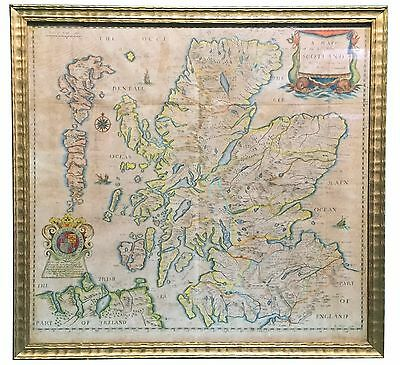 Antique framed map of the kingdom of Scotland by Richard Blome 1673. In colour.