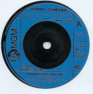 "Donny Osmond - When I Fall In Love - 7"" Single"