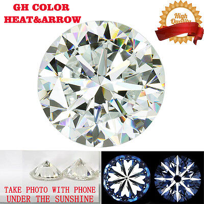 1.2ct Heart and Arrow GH Color Moissanite Loose Stone Round Excellent Cut 7mm