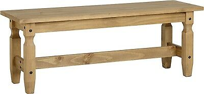 Solid Distressed Waxed Pine Mexican Style Large Dining Bench Wooden Seat Stall