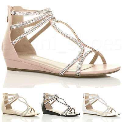 ffa95658988e Womens Ladies Low Heel Wedge Strappy Diamante Summer Holiday T-Bar Sandals  Size