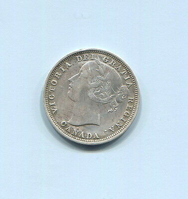 Canada - Beautiful Historical Qv Silver 20 Cents, 1858