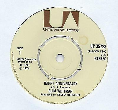 "Slim Whitman - Happy Anniversary - 7"" Single"