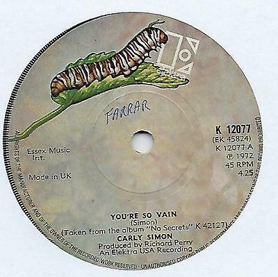 "Carly Simon - You're So Vain - 7"" Single"
