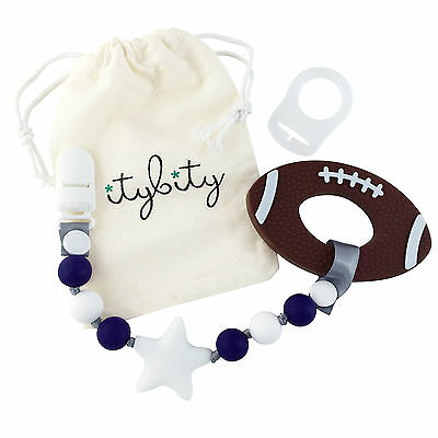Baby Football Teething Toy and Pacifier Clip Teether Set