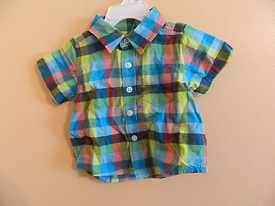 NWT babyGAP infant boy short sleeve button down collared shirt multicolored 3-6m