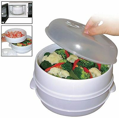 2 Tier Microwave Steamer Pasta Vegetable Rice Fish Steamer Pot Healthy Cooking