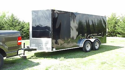NEW 7x16 V-Nose Enclosed Cargo Trailer w/Ramp & Side Door With Full Alarm System