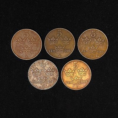 Lot of 5 Sweden 5 Ore Öre 1911 1913 1917 x2 1922