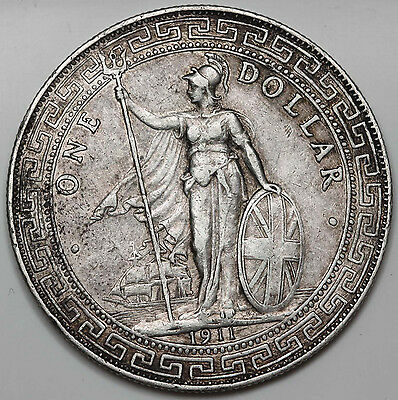 Great Britain UK 1911 B TRADE DOLLAR in China $1 Silver Coin XF