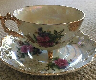 Gold Embossed Opaque Tea Cup & Saucer Fine China Flower Design