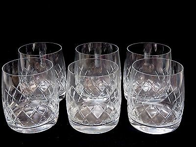 """6 Vintage Bohemian Crystal """"boc9"""" Cut Glass Oil Fashioned Whisky Tumblers- Boxed"""