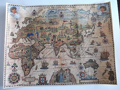 Poster Portugal Map pilgrimage Fernão Mendes Pinto 1537-1558 in excellent paper.