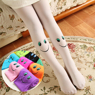 Kids Girls Velvet Pantyhose Soft Footed Tights Smile Stockings Stretch Socks New