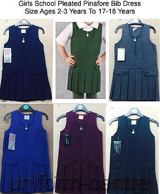 Girls School Uniform Pinafore Box Pleated Dress Black Navy Grey All Sizes