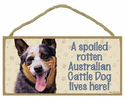 A spoiled rotten Australian Cattle Dog lives here! Wood Puppy Dog Sign USA Made