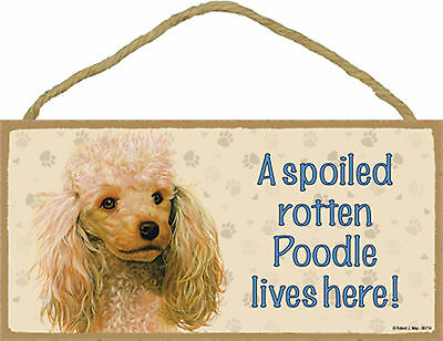 A spoiled rotten Poodle lives here! Wood Apricot Puppy Dog Sign Plaque USA Made