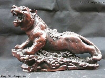 15' Chinese red copper carved finely lucky money Tiger Sculpture Statue