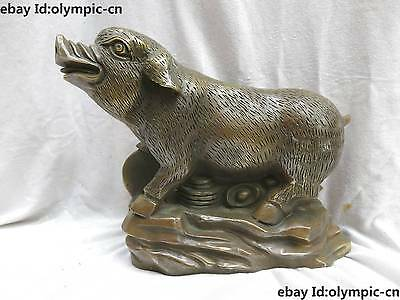 "9"" China brass Feng Shui Copper Money drawing Yuan Bao Pig sculpture Statue"